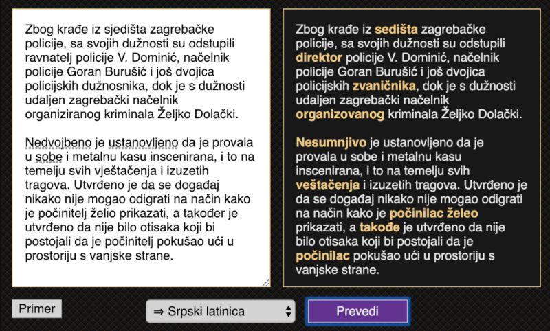 Automatsko Prevođenje Između Srpskog I Hrvatskog Jezika Bl
